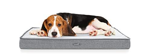 Pecute Cama Perros Ortopédica Colchón Perro Impermeable con Funda Desenfundable y Evestimiento Impermeable, Espuma Viscoelástica (M, Gris)