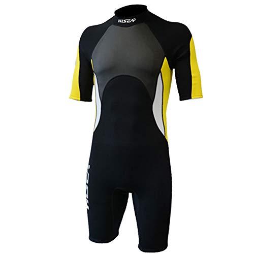HOMELECT 2.5 mm Neopreno de Cuerpo Completo de Manga Corta Protección UV Traje de natación Color Buceo Buceo Natación Equipo de Deportes acuáticos para Mujeres y Hombres,(Men) B,XL