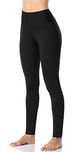 Anwell Fitnesshose Damen Lang Fitnesshosen Für Dame Strumphosen Yoga Leggings Schwarz Fitness Sport Gym Athletic XL