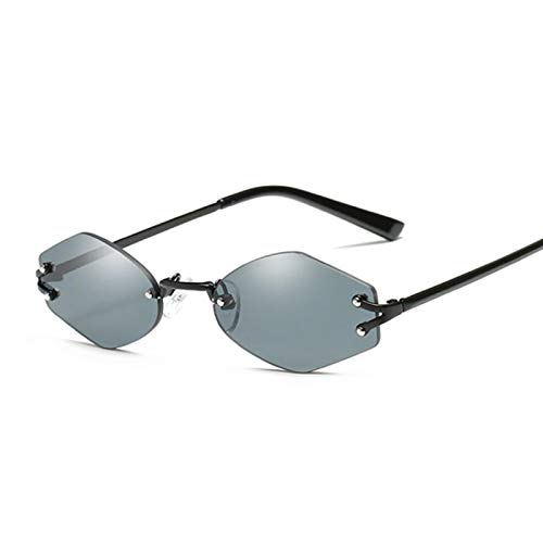 Astemdhj Gafas de Sol Sunglasses Gafas De Sol Hexagonales De Diseñador Sin Montura Vintage para Mujer Y Hombre, Gafas De Sol con Espejo De Conducción Retro para Mujer, Hombre, NegAnti-UV