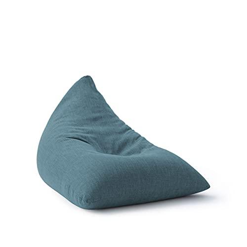 Lumaland Puff Pera Triangular XXL 370l con Relleno Incluido - Sillón Relax de Lino para Interiores - Sofá Puff Gigante Cómodo Ideal para Salón y Habitación - 150 x 100 x 100 cm / Azul Marino