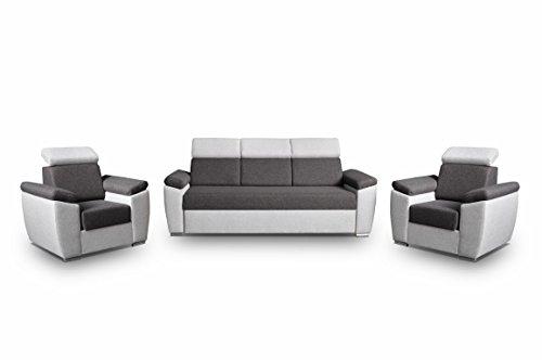 mb-moebel Polstergarnitur Sofa Set 3er & 1er Wohnlandschaft 3-Sitzer und Zwei Sessel Möbel Set - Monza (Grau)