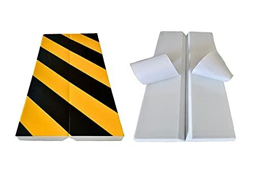 Zagon Protector de Parking - 4 Unidades 40x20cm - Protector Parachoques para Pared o Esquina - Franjas Amarillas y Negras - Protector de Columna para Garaje