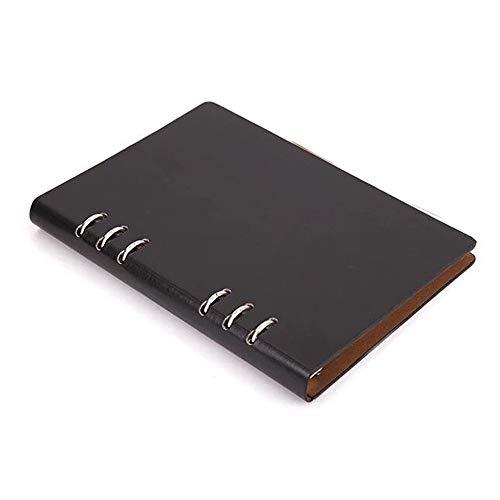 Cuaderno A5, cuaderno recargable de cuero, archivador con anillas, tapa dura, diario de bolsillo, color negro