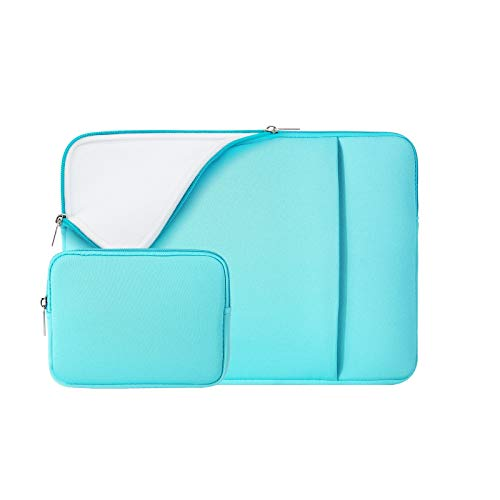 RAINYEAR 14 Inch Laptop Sleeve Protective Case Soft Fluffy Lining Cover Carrying Bag with Front Pocket & Accessories Pouch,Compatible with 14' Notebook Computer Chromebook(Blue,Upgraded Version)