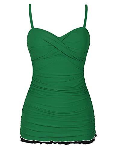 Hilor Women's One Piece Swimwear Tummy Control Swimsuits Ruffle Swimdress with Panty Green 14
