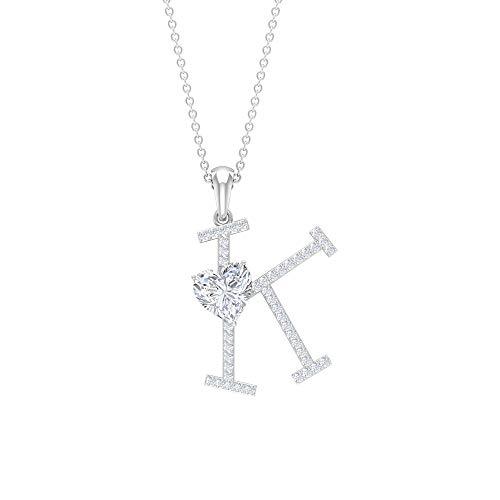 Rosec Jewels 14 quilates oro blanco corazón Round Brilliant Moissanite