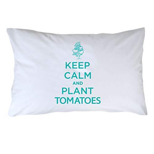 Kysd43Mill Fundas de almohada de algodón blanco con texto en inglés 'Keep Calm and Plant Tomates' (20 x 30 cm), color blanco