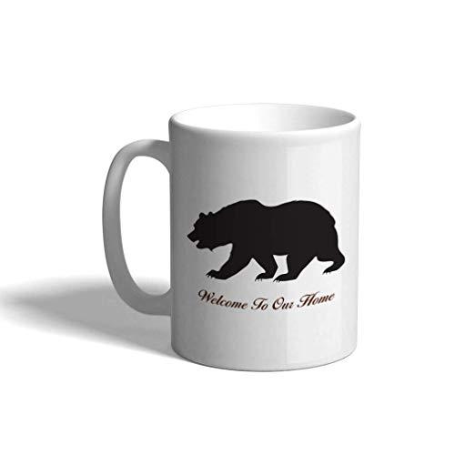 Taza de café personalizada de cerámica de 11 onzas Bienvenido a nuestra entrada de la taza de té blanco del estreno de la casa del oso