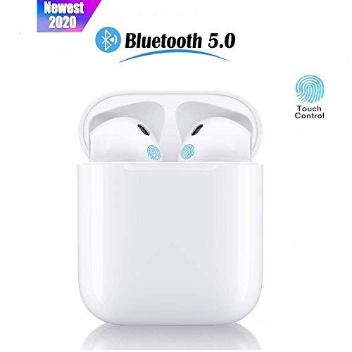 Auricolari Bluetooth 5.0 TWS Mini i12 con Controllo Audio Touch HD Stereo Pop-Up e Abbinamento Automatico Cuffie con IPX7 Impermeabile per Lavoro e Sport Viaggio Cuffie - Bianco