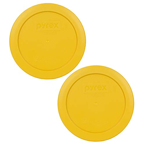Pyrex 7200-PC 2 Cup Butter Yellow Round Plastic Food Storage Lids - 2 Pack