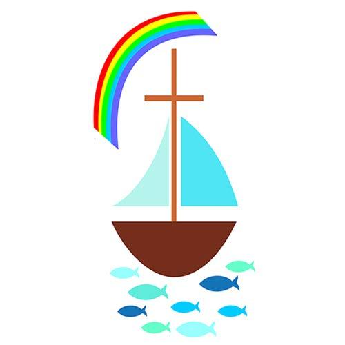 Wachsmotiv Segelboot mit Regenbogen 5 x 10 cm