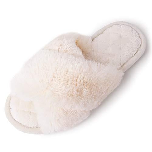 Damen Plüsch Flauschig Pantoffeln Fell Flip Flop Open Toe Hausschuhe Weiß EU38/39