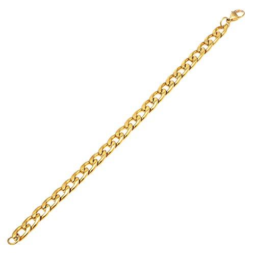 DonDon Bracciale Uomo Catena in acciao Inox Oro Lunghezza 22 cm - Larghezza 0,9 cm