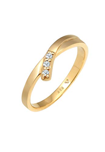 DIAMORE Ring Damen Verlobung mit Diamant (0.06 ct.) in 585 Gelbgold Trio