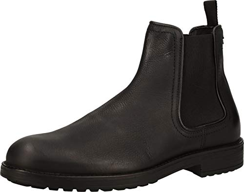 BULLBOXER Herren Stiefeletten, Männer Chelsea Boots,Stiefel,Halbstiefel,Bootie,Schlupfstiefel,flach, Freizeit Stiefel Bootie,schwarz,43 EU / 9 UK