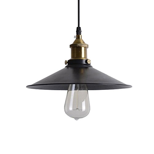 PLLP Lámpara Iluminación de techo Araña de hierro retro Bar Restaurante Dormitorio retro Estudio Araña de paraguas negra,36 cm