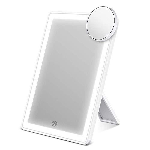 ESR7Gears Miroir à Maquillage LED, Miroir-Vanité avec 72 LED Lumière Halo, Miroir Grossissant 10x Détachable, Réglage d'Éclairage Smart, et Dual Alimentation Optionnels, Miroir de Maquille Éclairant