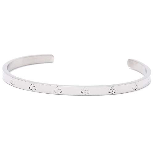 Hafen-Klunker Anker Armreif - Damen Edelstahl Armband Silber Schmal Edelstahl mit Anker-Gravur - Größenverstellbares Damenarmreif in hochwertiger Geschenkbox u. einzigartigem Design