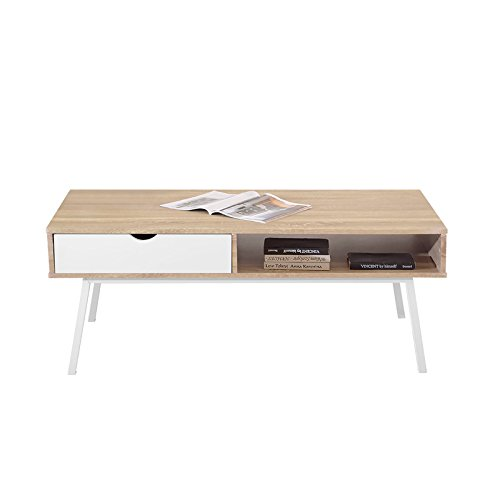 Selsey Poland Loren - Tavolino in MDF, Design scandinavo, 120 x 60 x 47 cm, Colore: Marrone