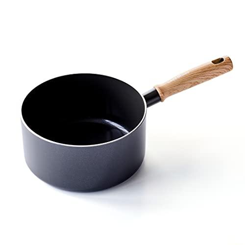 GreenChef Vintage Cazo Antiadherente de Cerámica, Apto para Todo Tipo de Cocinas, Inducción, Horno y Lavavajillas, 20 cm/ 2 L, Gris
