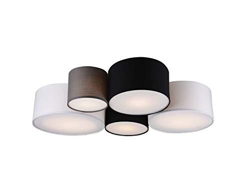Bellissime plafoniere a LED con diversi paralumi in tessuto in grigio, nero e bianco. Plafoniera a 5 punti luce