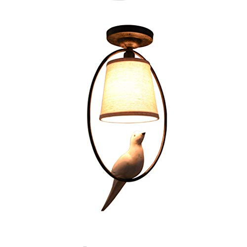 Eenvoudige retro roural American Village stoffen bekleding Birdie Single Head woonkamer studie slaapkamer balkon gang plafondlamp E14 lichtbron