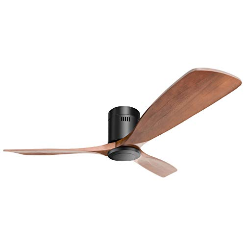 "52"" Ceiling Fan Low Profile Ceiling Fan with Remote for Living Room Kitchen Bedroom without Light, Solid Walnut and Matte Black"