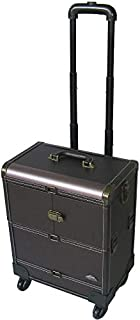 3-Tiers Expandable Trays Leather Finish 4-Wheels Professional Cosmetic Makeup Case