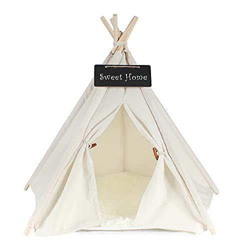 Pet Teepee Dog & Cat Bed - Dog Tents & Pet Houses with Cushion & Blackboard, Chalk