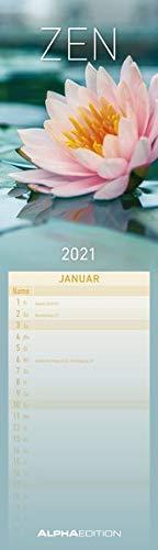 Streifenplaner Mini Zen 2021 - Streifen-Kalender 9,5x33 cm - Harmonie und Achtsamkeit - Wandplaner - Küchenkalender - Alpha Edition