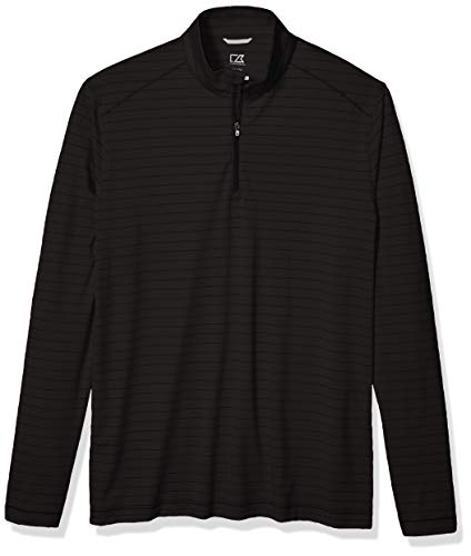 Cutter & Buck Men's Moisture Wicking Drytec UPF Holman Stripe Half Zip Pullover, Black Heather, 4X Big