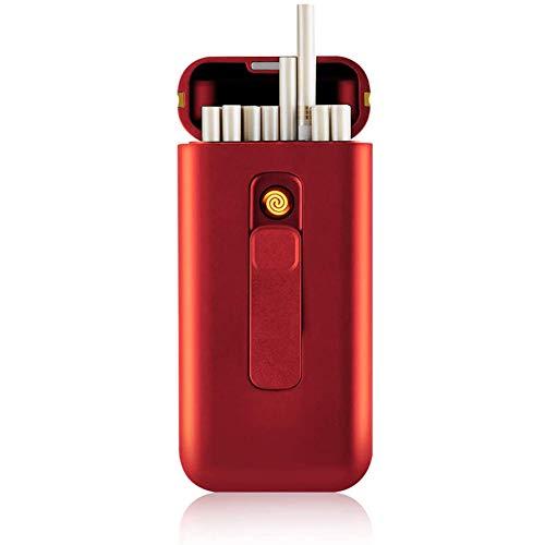 VIY Caja de Cigarrillo, Pitillera con Encendedor portátil, 20 Unidades de 100 Cigarrillos Delgados, mecheros USB 2 en 1, Recargables, sin Llama, Resistente al Viento, Rojo,Rojo