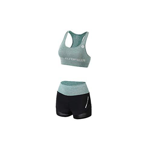 Kaiyei Conjunto Deportivo Mujer Fitness 2 Piezas Sujetador+Pantalones Cortos Outfit Yoga Secado Rápido Elástico Suave Transpirable Jogging Gym Gimnasio Ciclismo Sport Verde M