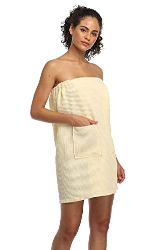 expressbuynow Women's Waffle Towel Wraps Adjustable Bath Towel Cover Up Cotton Spa Shower Wrap, L/XL