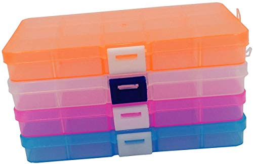 Mini Jewelry Organizer (4pack) Adjustable Small Removable Clear Plastic 10-Grid Jewelry Organizer Divider Storage Box Jewelry Earring Tool Containers (4pack(10-Grid))