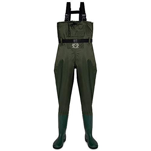 FLY FISHING HERO Chest Waders for Men with Boots Hunting Waders Fishing Boots Neoprene Waders for Women Free Hangers Included (Green 12)