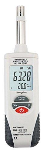Mengshen Medidor Digital de Humedad y Temperatura. Termómetro e higrómetro multifunción, con Bulbo húmedo/Punto de rocío, para Uso Diario e Industray, M350