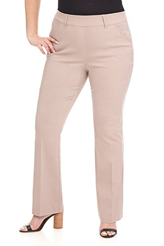 Rekucci Curvy Woman Ease in to Comfort Fit Barely Bootcut Plus Size Pant (16WSHORT,Khaki)
