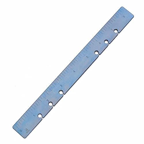 FEGVE 定規 チタン 直尺 テンプレート 21cm ルーラー文房具 製図用(センチメートル&インチ表示) (ブルー 一個)