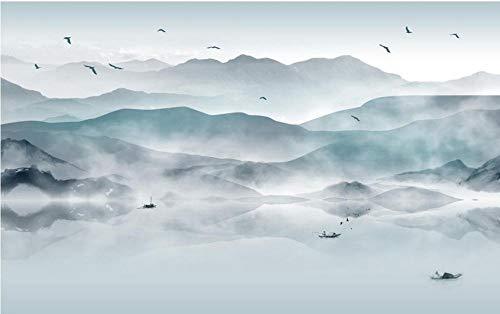 Papel Pintado 3D Murales Montañas nubladas - Fotomurales Para Salón Natural Landscape Foto Mural Pared, Dormitorio Corredor Oficina Moderno Festival Mural 250x175 cm - 5 tiras