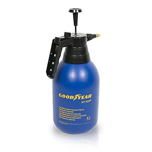 Goodyear pulverizador a presión de 2 litros Multiusos. 2 Bares de presión. Boquilla de latón Regulable. Mango accionamiento con Apertura automático.