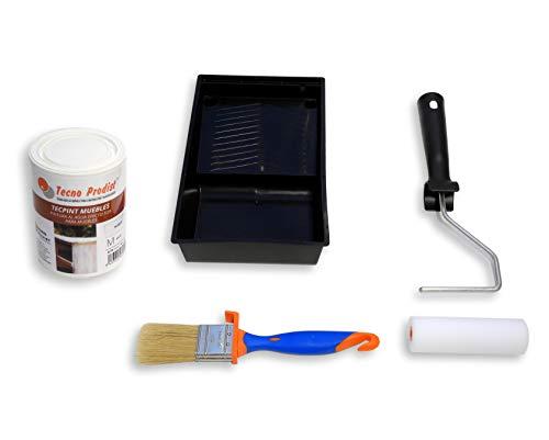 TECPINT MUEBLES de Tecno Prodist - 750 ml (Blanco Roto) Pintura a la Tiza - Ideal para pintar Muebles - Calidad Profesional (BLANCO + KIT)
