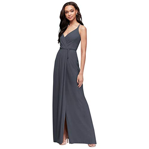 David's Bridal Double-Strap Long Georgette Bridesmaid Wrap Bridesmaid Dress Style F19755, Pewter, 2