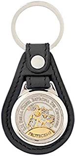 Protect Me - Bikers Key Chain with Medal - Bikers Patron Saint (Black)