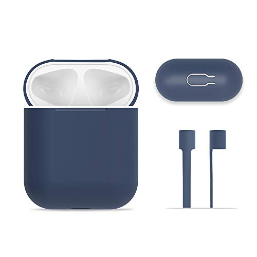 AirPods Case Protective, FRTMA Silicone Skin Case with Sport Strap for Apple AirPods (Midnight Blue)