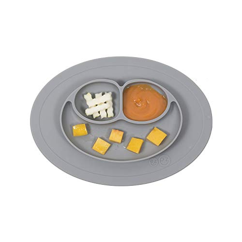 ezpz Mini Mat (Gray) - 100% Silicone Suction Plate with Built-in Placemat for Infants + Toddlers - First Foods + Self-Feeding - Comes with a Reusable Travel Bag