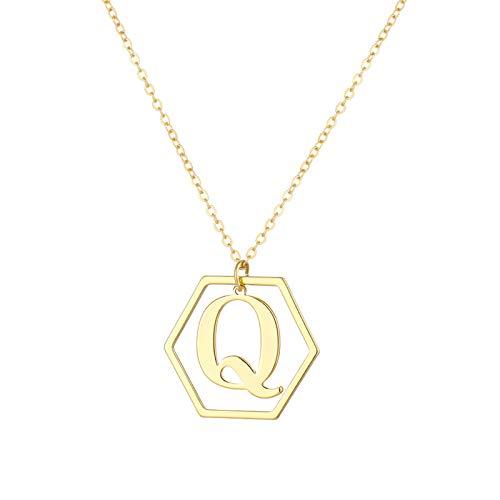 Hunpta A-Z - Collar con colgante de letra inicial del alfabeto para mujeres y niñas, 26 letras del alfabeto personalizado con colgante