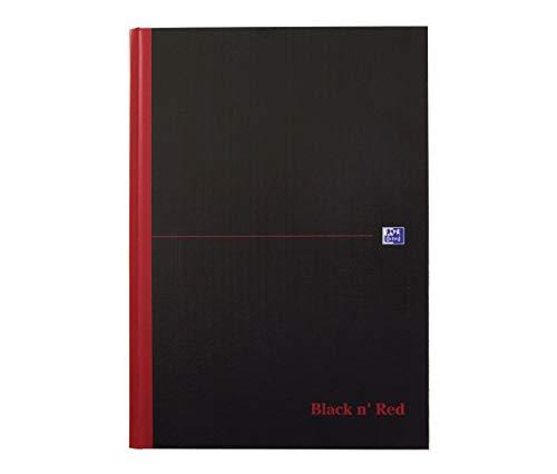 Oxford 400047607 gebundenes Buch Black n Red 5er Pack A4 kariert mit Hardcover und Lesezeichenband 96 Blatt schwarz rot