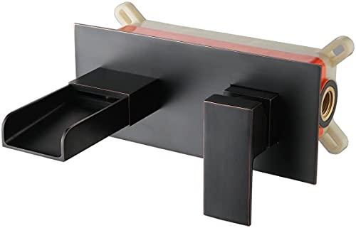 Mezclador de lavabo de pared, estilo cascada, negro, grifo de baño con una manija, latón, XY3319B